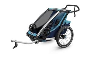 Przyczepka rowerowa dla dziecka THULE-Chariot Cross 1 niebieska granatowa 2019